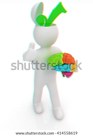 3d people - man with half head, brain and trumb up. Choice concept. 3D illustration. Anaglyph. View with red/cyan glasses to see in 3D. - stock photo