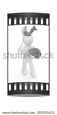 3d people - man with half head, brain and trumb up. Choice concept. The film strip - stock photo