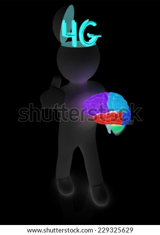 3d people - man with half head, brain and trumb up. 4g modern internet network - stock photo