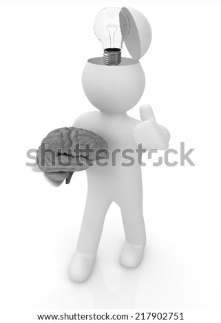 3d people - man with half head, brain and trumb up. Idea concept - stock photo
