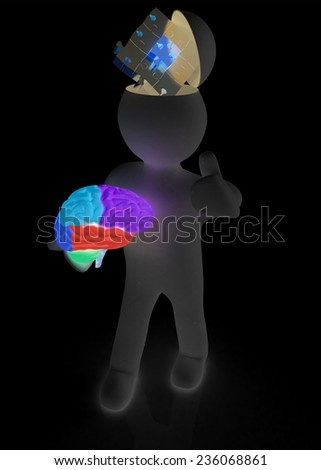 3d people - man with half head, brain and trumb up. Idea concept with puzzle - stock photo