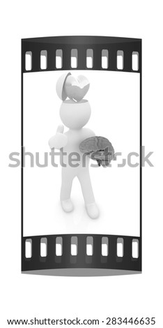 3d people - man with half head, brain and trumb up. Love concept with heart. The film strip - stock photo