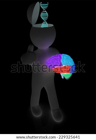 3d people - man with half head, brain and trumb up. Medical concept with DNA model - stock photo