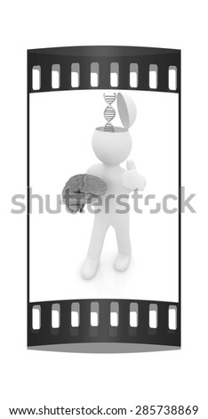 3d people - man with half head, brain and trumb up. Medical concept with DNA model. The film strip - stock photo