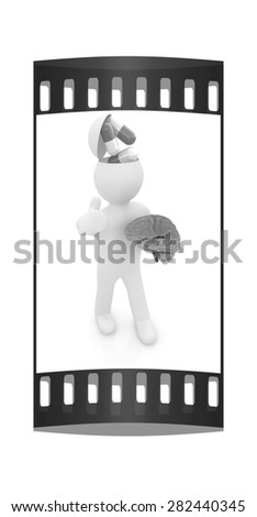 3d people - man with half head, brain and trumb up. Medical concept with tablets. The film strip - stock photo