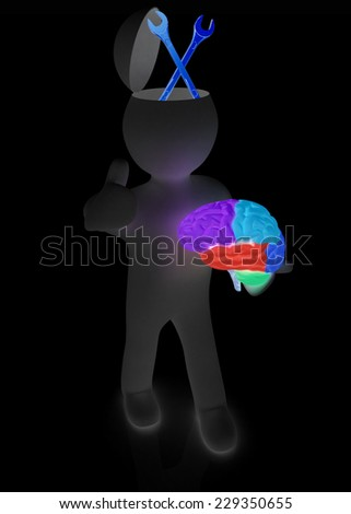 3d people - man with half head, brain and trumb up. Service concept with wrench - stock photo