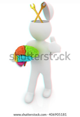 3d people - man with half head, brain and trumb up. Service concept with wrench. 3D illustration. Anaglyph. View with red/cyan glasses to see in 3D. - stock photo