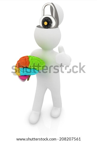 3d people - man with half head, brain and trumb up. The concept of protection with lock - stock photo