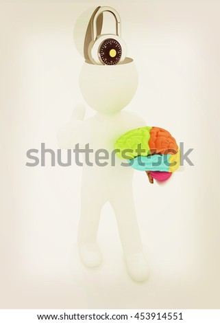 3d people - man with half head, brain and trumb up. The concept of protection with lock. 3D illustration. Vintage style. - stock photo