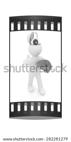 3d people - man with half head, brain and trumb up. The concept of protection with lock. The film strip - stock photo