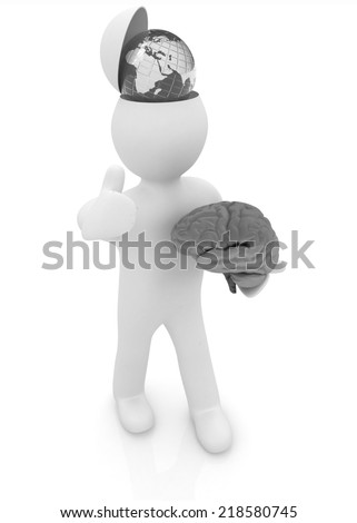3d people - man with half head, brain and trumb up. Traveling concept with earth - stock photo