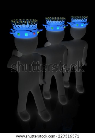 3d people - mans, persons with a crown. Kings - stock photo