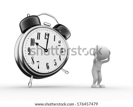 3d people - men, and alarm clock. Sadness concept  - stock photo