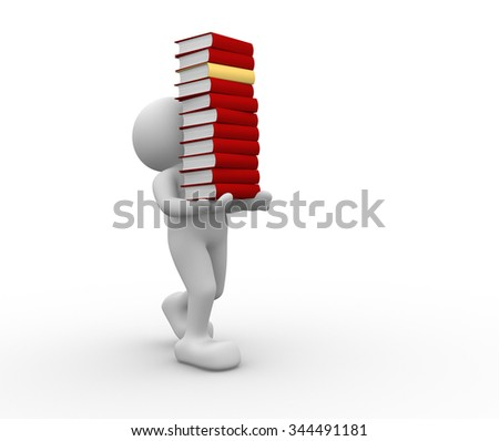 3d people - men , person and a books - stock photo
