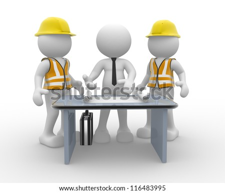 3d people - men, person and a office with working draft. Engineer and businessman. Teamwork - stock photo