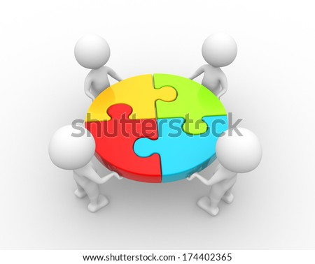 3d people - men, person and a pieces of puzzle - stock photo