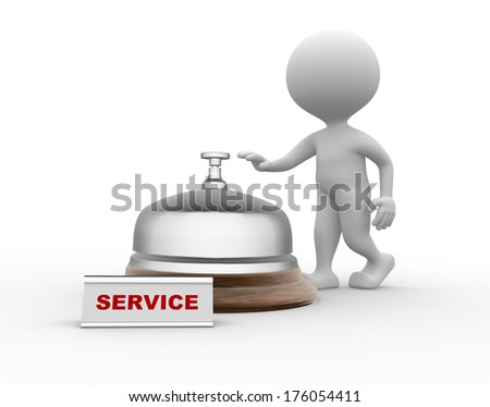 3d people - men, person and a service bell.  Service - stock photo