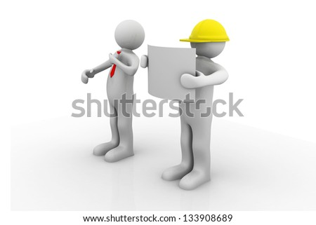 3d people - men, person and an office with working draft. Engineer and businessman. Teamwork