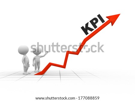 3d people - men, person and arrow. KPI ( Key performance indicator) - stock photo