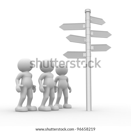 3d people - men, person and blank  road sign - stock photo