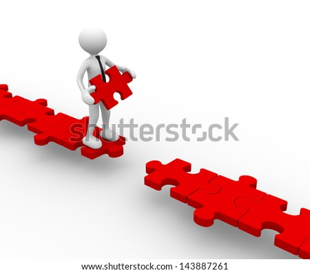 3d people - men, person and last piece of puzzle - jigsaw. - stock photo