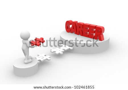 3d people - men, person and last piece of  puzzle -  jigsaw. Career