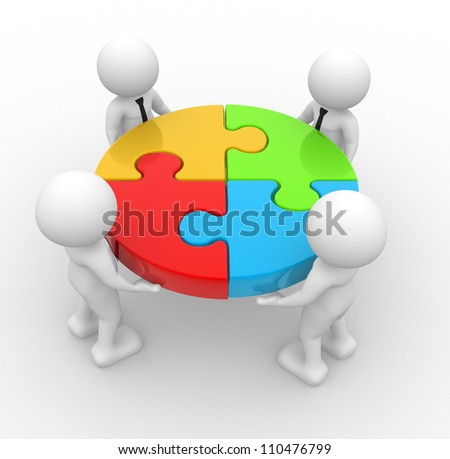 3d people - men, person and pieces of a puzzle. - stock photo