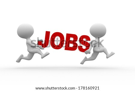 3d people - men, person and word JOBS - stock photo