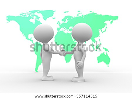 3d people - men, person and world maps - two people talking  - stock photo