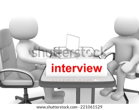 3d people - men, person - application or interview - talking together. 3d render - stock photo