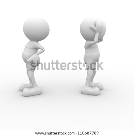 3d people - men, person argue, conflict. Misunderstanding - stock photo