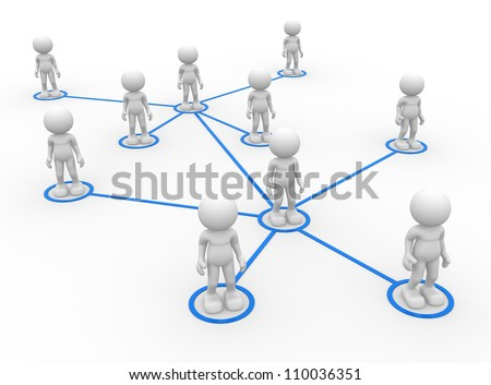 3d people - men, person arranged in a network