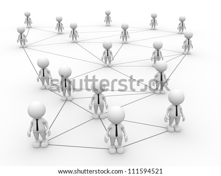 3d people - men, person arranged in a network. - stock photo