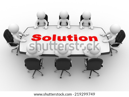 3d people - men, person at a conference table. Solution - stock photo