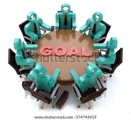 3d people - men, person at conference table. Goal in the design of information related to success in business - stock photo