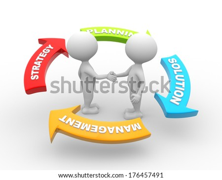 3d people - men, person, businessman with business conceptual arrows  - stock photo