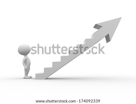 3d people - men, person climb the ladder of success - stock photo