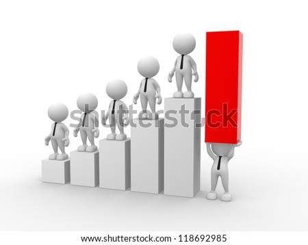 3d people - men, person holding up a bar graph. Demonstrating success or achievement