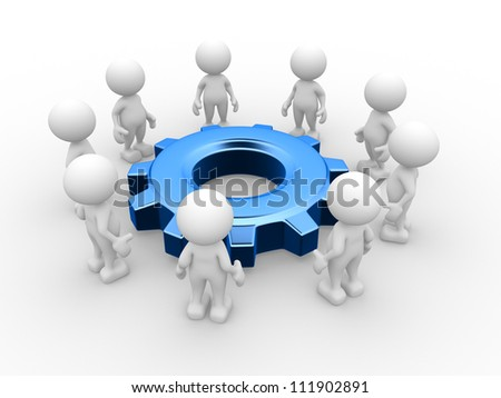 3d people - men, person in a circle and a gear mechanism. - stock photo