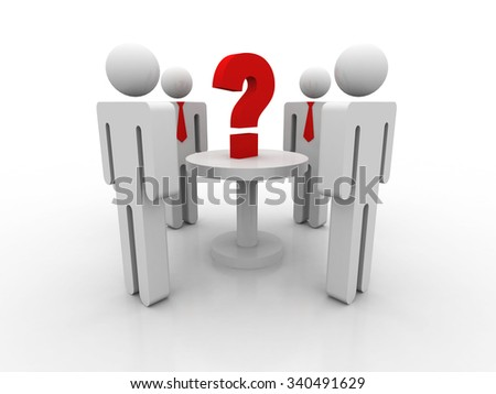 3d people - men, person in a circle, and a question mark - stock photo