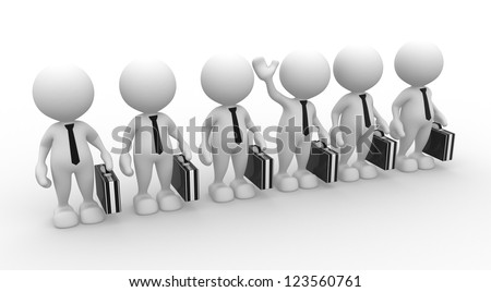 3d people - men, person in row. Leadership and team.