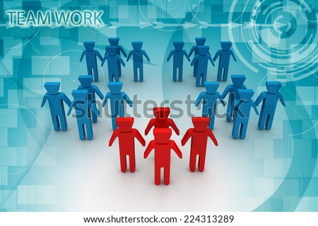 3d people - men, person in team. Leadership and team