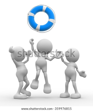 3d people - men, person is fighting for a life buoy  - stock photo
