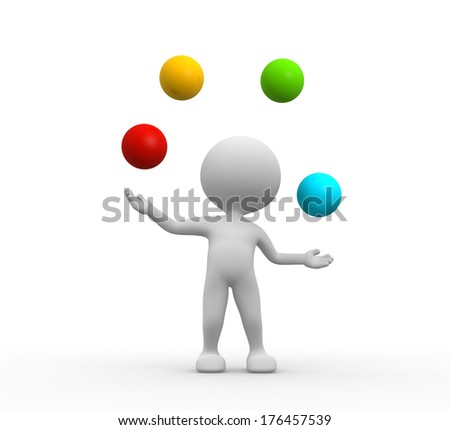 3d people - men, person juggles with a balls - stock photo