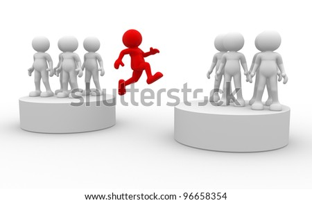 3d people - men, person jumping