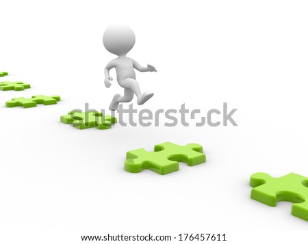 3d people - men, person  jumps on puzzles - stock photo