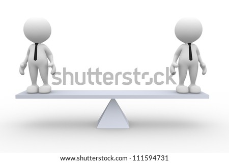 3d people - men, person on a balance. Businessman - stock photo