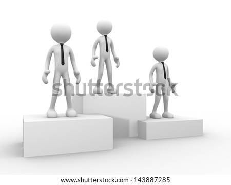 3d people - men, person on podium winner