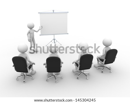 3d people - men, person presenting at a flip-chart. Leadership and team. - stock photo