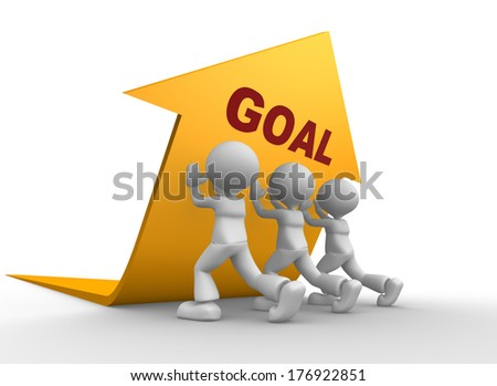 3d people - men, person pushing yellow arrow. Concept of goal. - stock photo